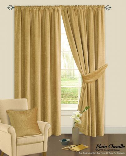 BEIGE COLOUR PLAIN CHENILLE FABRIC PENCIL PLEAT FULLY LINED HEAVY READYMADE CURTAINS